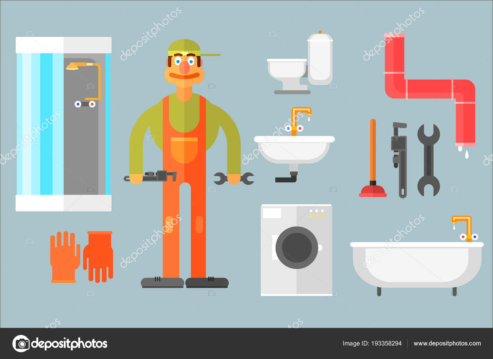 Flat vector set with plumber, tools for repair and sanitary ...