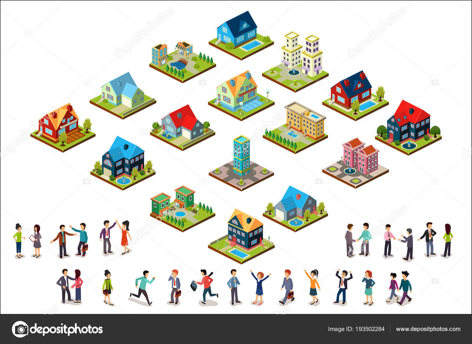 juegos de diseñar casas en 3d Conjunto De Vector De Casas Urbanas Isomtricas Y Grupos De