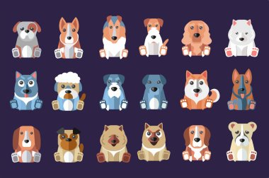 Flat vector set of cute dogs of different breeds. Domestic animals. Design for children book, mobile game, print or postcard