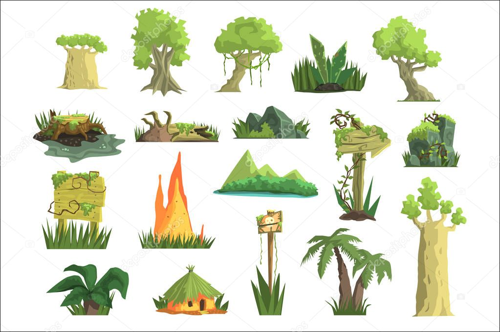 Tropical jungle landscape set, design elements for computers game interface vector Illustrations