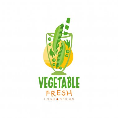 Colorful vector logo with organic drink from green pea. Glass of natural juice. Tasty beverage from fresh vegetable