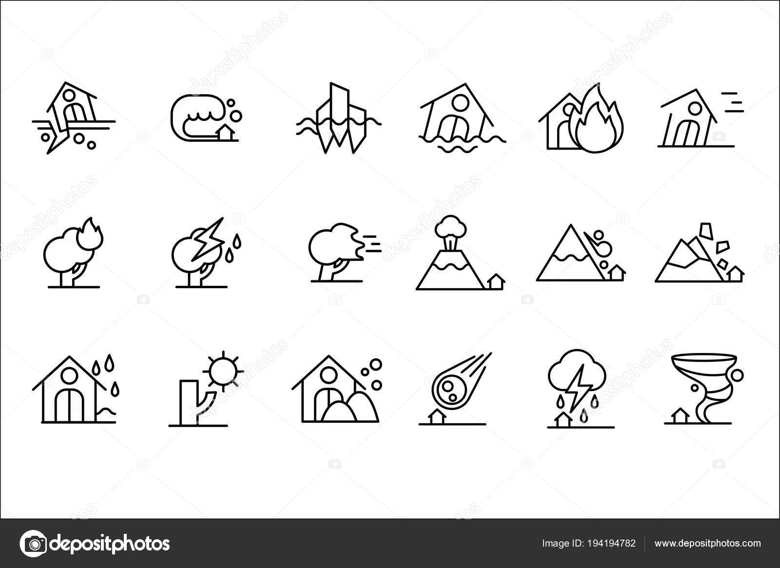 Conjunto de iconos de desastres naturales, tormenta, inundación ...