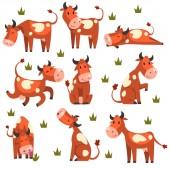 Barna foltos tehén készlet, farm állatok karakter a különböző pózok vektor illusztrációk egy fehér háttér