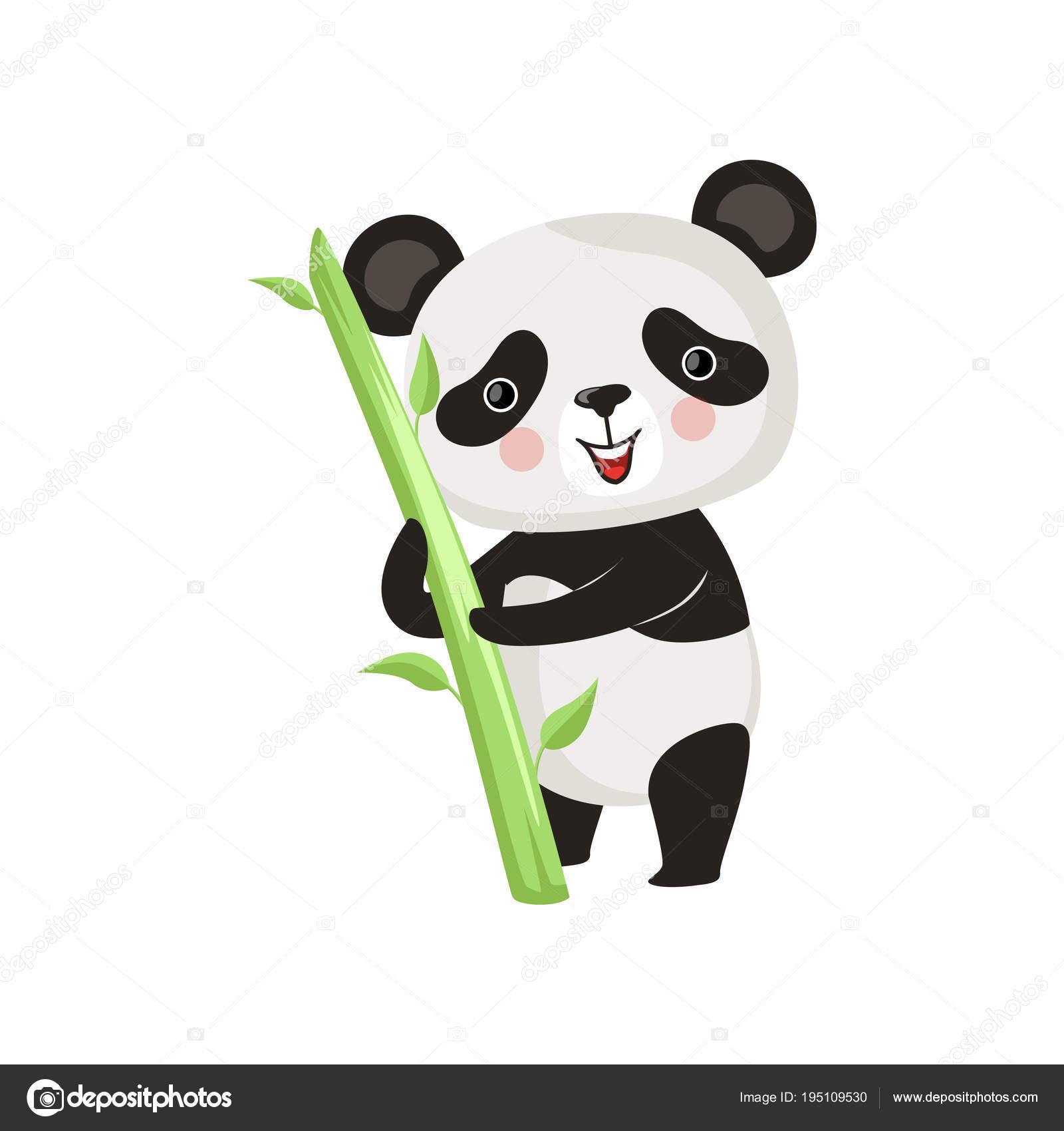 Le Sourire Permanent De Panda Avec Bâton De Bambou Vert