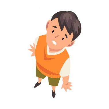 Cheerful Boy Character Looking Up, View from Above Vector Illustration