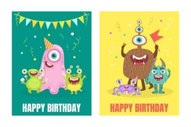 Green and yellow birthday cards with monsters. Vector illustration.