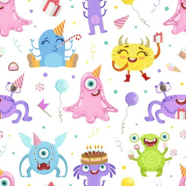 Seamless pattern with cute monsters. Vector illustration.