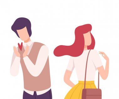 Young Man Rejecting Loving Woman, Male and Female Characters Experiencing Unrequited Feelings, One Sided or Rejected Love Flat Vector Illustration on White Background. stock vector