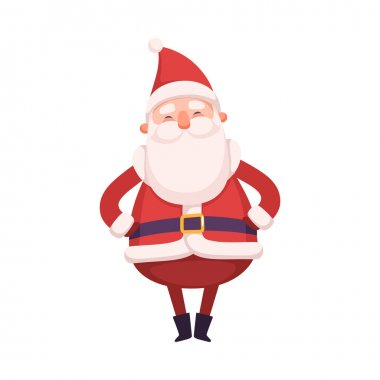 Funny Santa Claus, Cute Christmas and New Year Character, Winter Holidays Design Element Vector Illustration