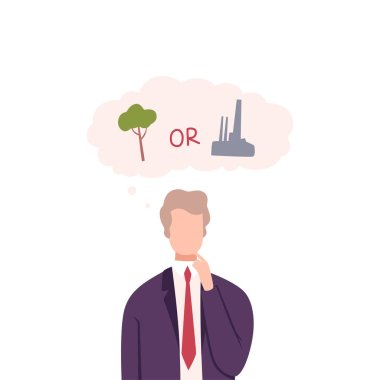 Businessman Trying to Make Decision, Environment or Industry, Guy Thinking about Environmental Protection Flat Vector Illustration