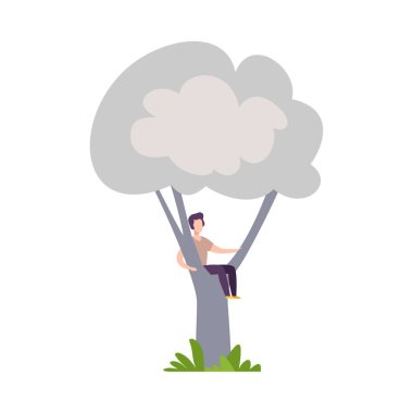 Young Man Sitting on Tree Branch, Guy Hiding in Tree Crown Vector Illustration