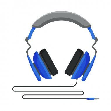 Blue Wired Headphones, Accessory for Music Listening or Gaming Vector Illustration