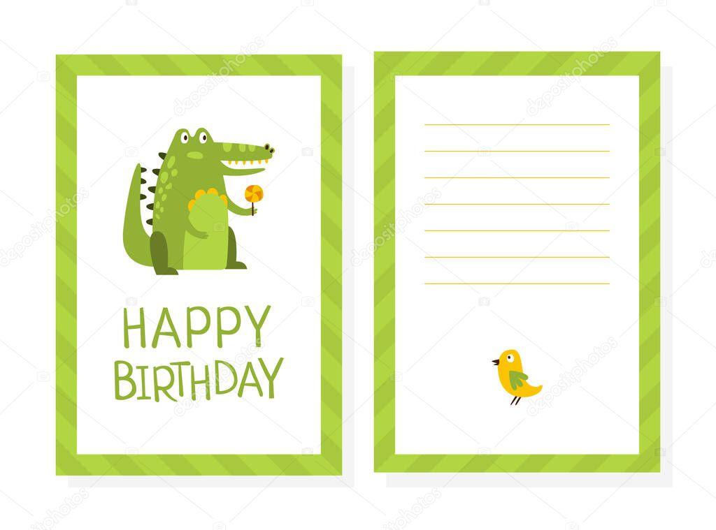 Happy Birthday Card Template With Cute Crocodile Childish Holiday Invitation Cartoon Style Vector Illustration Premium Vector In Adobe Illustrator Ai Ai Format Encapsulated Postscript Eps Eps Format