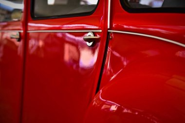 Detail of red retro classic car