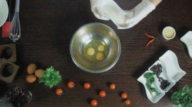 Scrambling Eggs in bowl