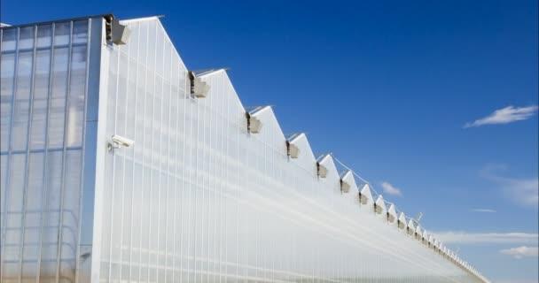 Velký skleník s prosklenými stěnami, sedlová střecha, základy, zahradní postel. 4 k zahradnictví konzervatoř pro pěstování zeleniny a květin. Klasické pěstování Skleníkové zahradnictví. Slunečný den