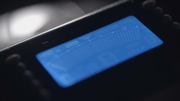 Digitální Tuner, hudební. Modrá obrazovka displeje. HUD