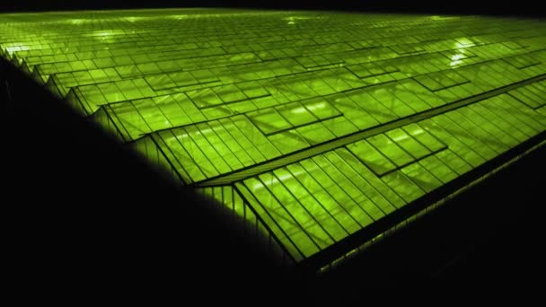 Top view of illuminated greenhouse at night