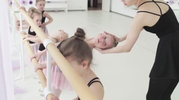 Little girls dance ballet. Children in ballet class. Little ballerinas and teacher. Beautiful view.