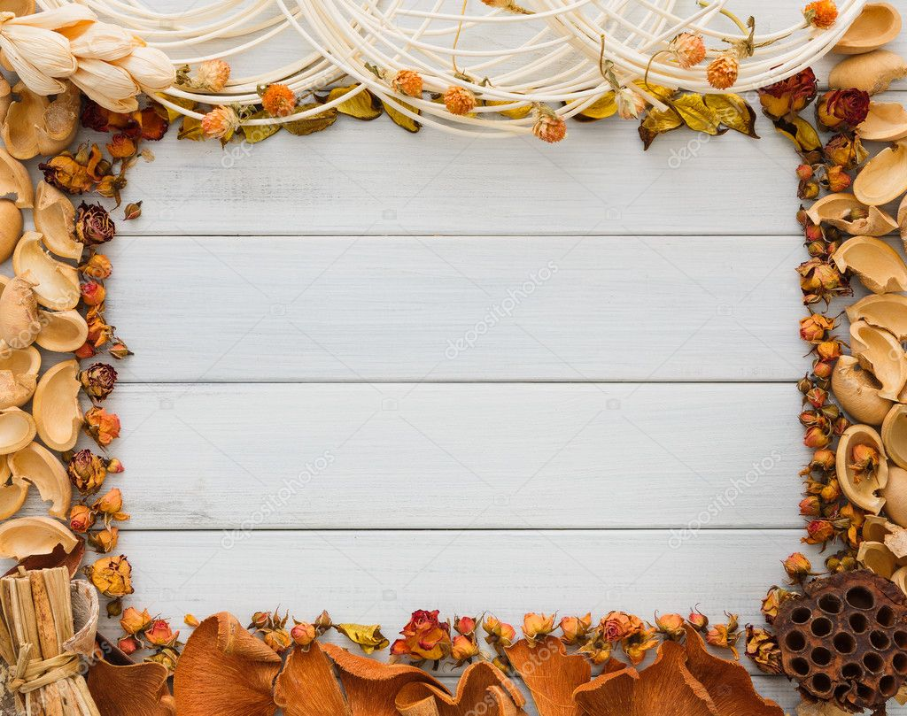 Fall decoration handmade frame on white wood background copy space ...