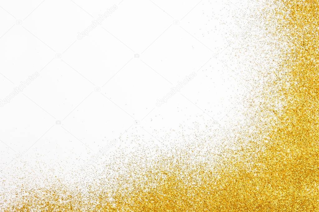 Goldenen Glitzer Sand Textur Frame auf weiße, abstrakten Hintergrund ...