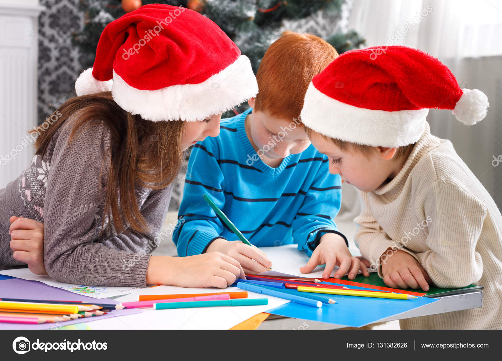 Children Writing Letter To Santa Wait For Christmas  Stock Photo