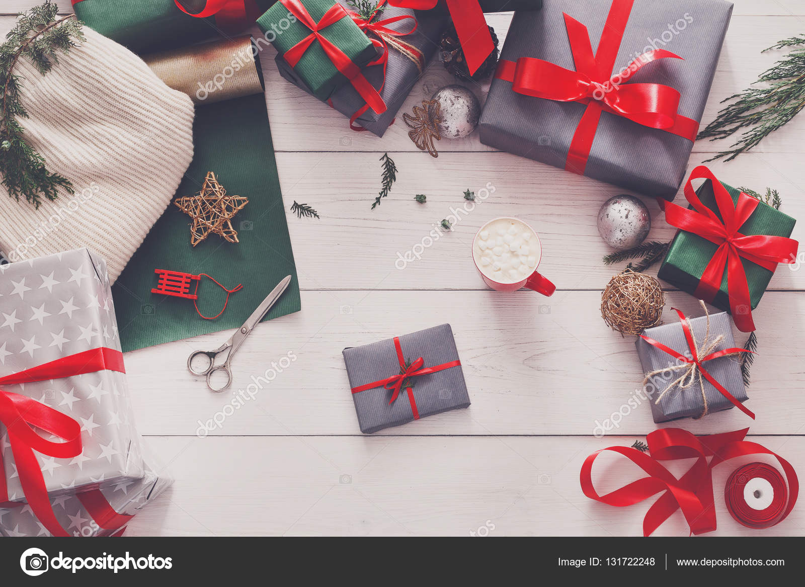 Top view of christmas present boxes on white wood background — Stock ...