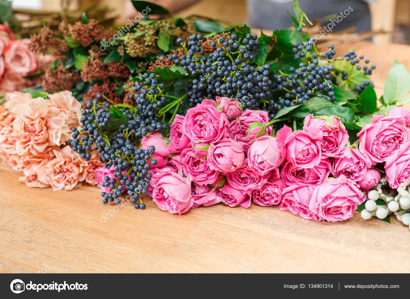 Flower Shop Background Fresh Roses For Bouquet Delivery Stock