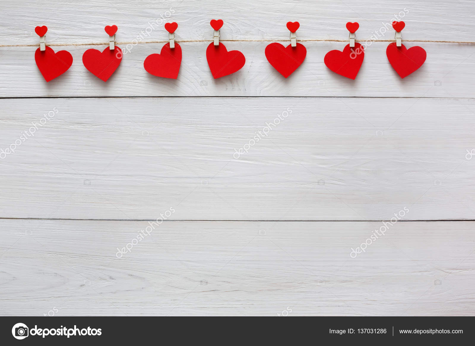 Valentine Background With Red Paper Hearts Row Border On Clothespins White Rustic Wood Planks Happy Lovers Day Card Mockup Copy Space Photo By Milkos