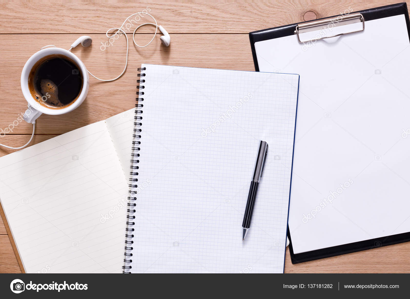 Papers Notepad And Coffee On Wood Background Stock Photo C Milkos 137181282