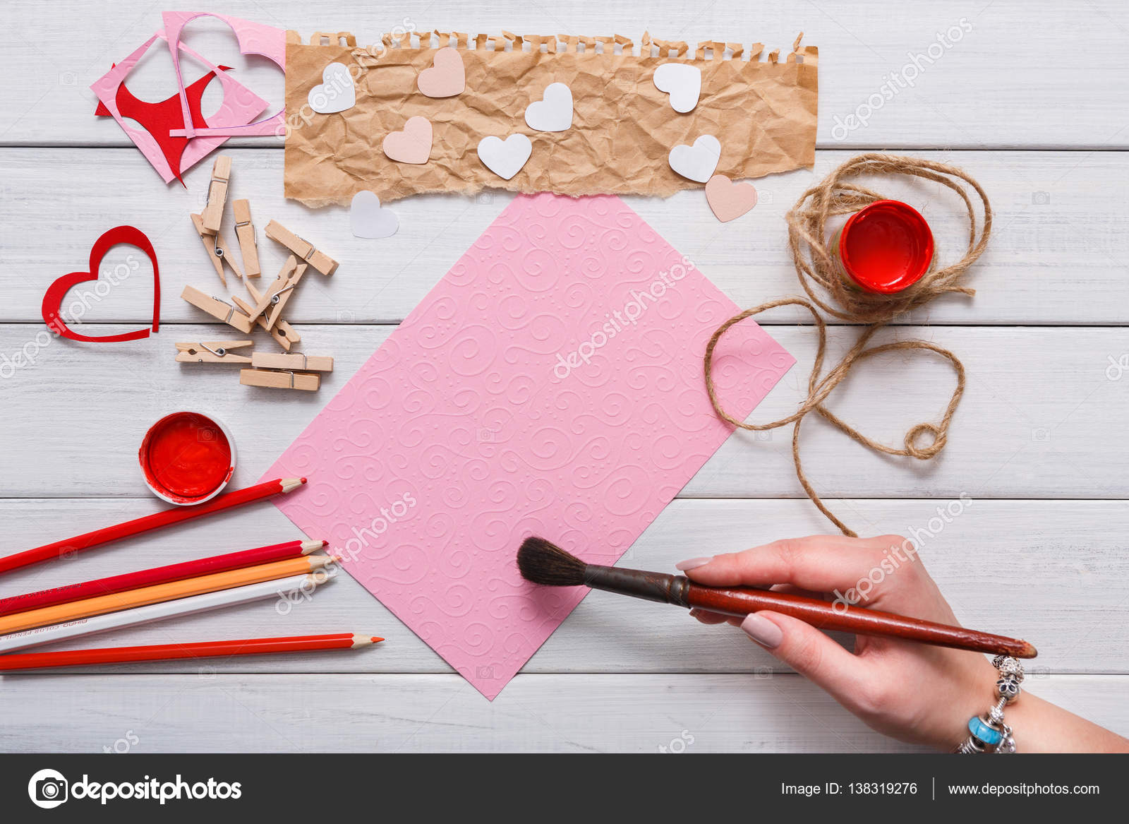 Valentine Day Diy Handmade Card Making Top View On Wood Stock