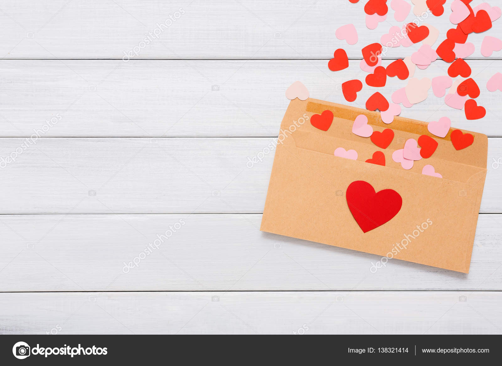 Valentine Day Love Letter On White Wood Background Stock Photo