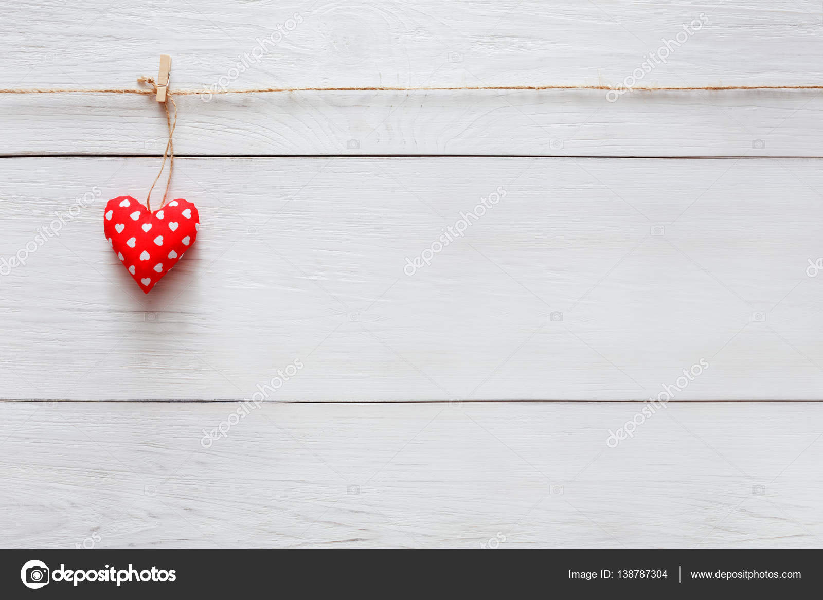 Valentine Day Love Background Pillow Heart On Wood Copy Space Stock Photo