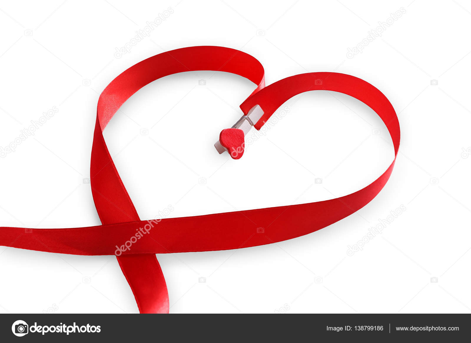 Red Satin Ribbon In Heart Shape Valentines Day Love Concept