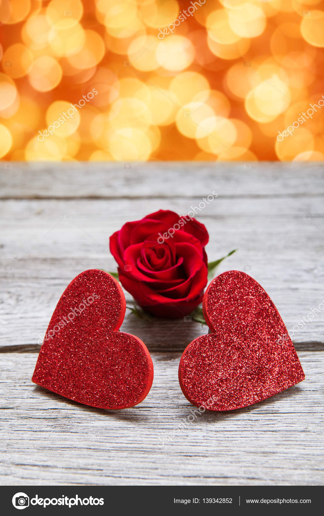 Valentine Background With Handmade Glitter Hearts And Rose Flower On Rustic Wood Holiday Lights Bokeh Happy Lovers Day Party Invitation