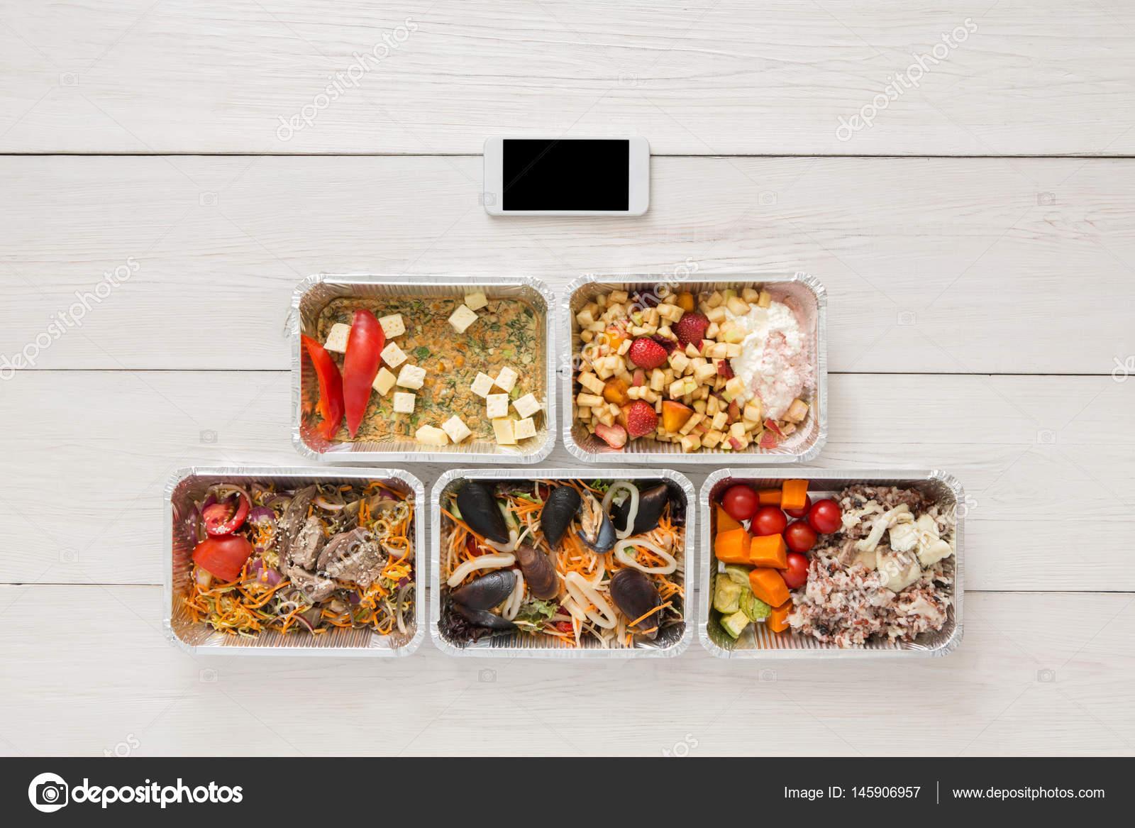 Gesundes Essen Online Bestellen In Boxen Draufsicht Auf Holz
