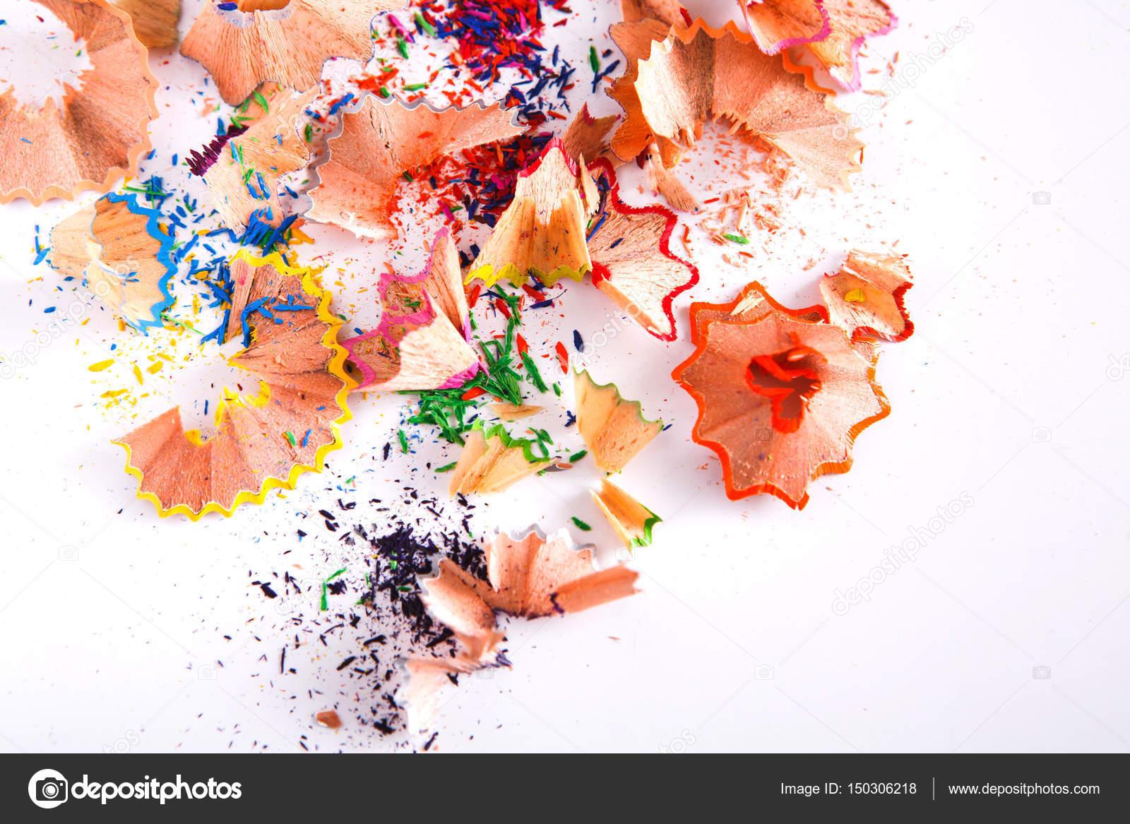 Sfondo Di Segatura E Trucioli Di Legno Della Matita Colorata Foto