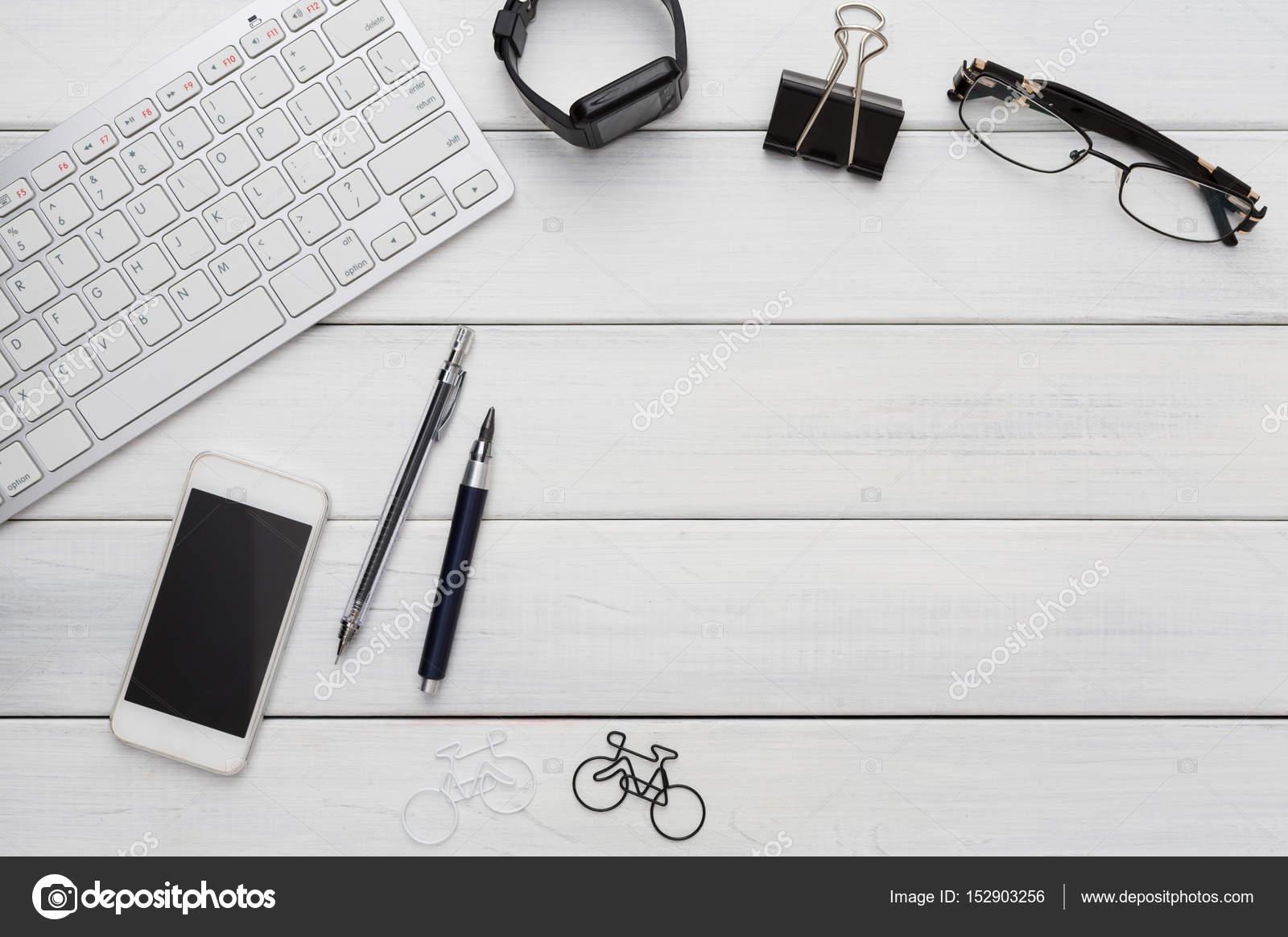Modern workspace, table top view, flat lay of desktop 40