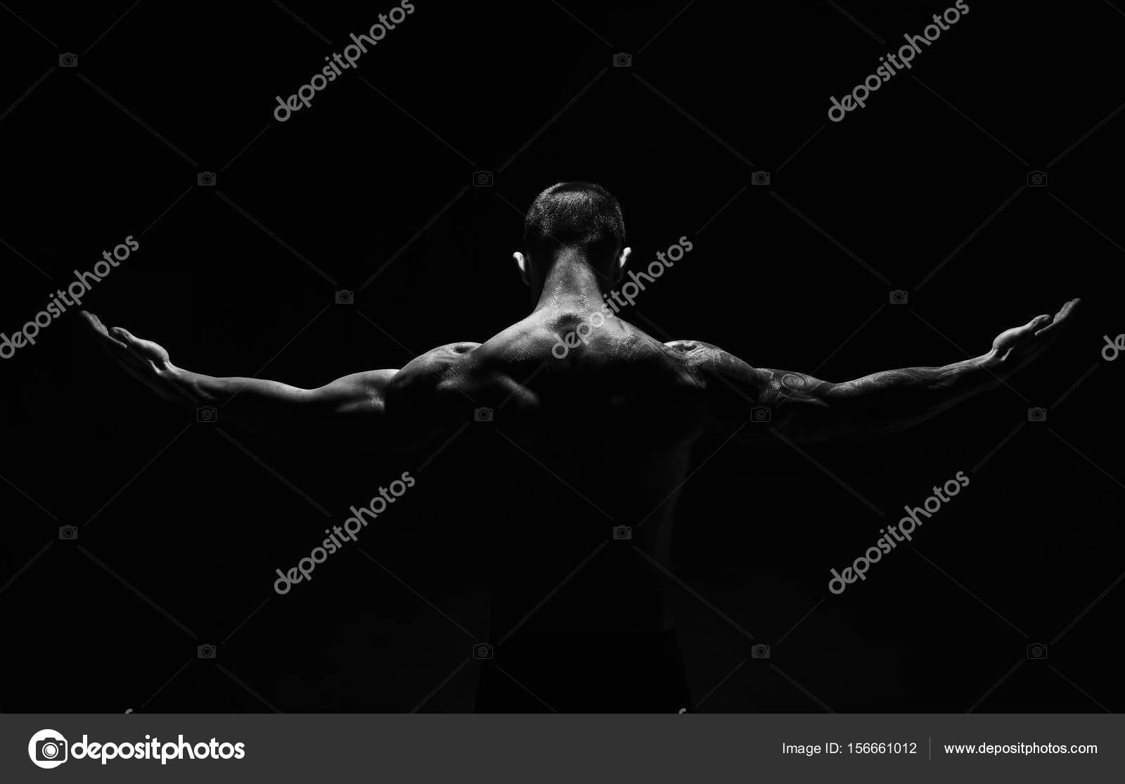 Nicht erkennbare Mann zeigt starke Hals Muskeln closeup — Stockfoto ...
