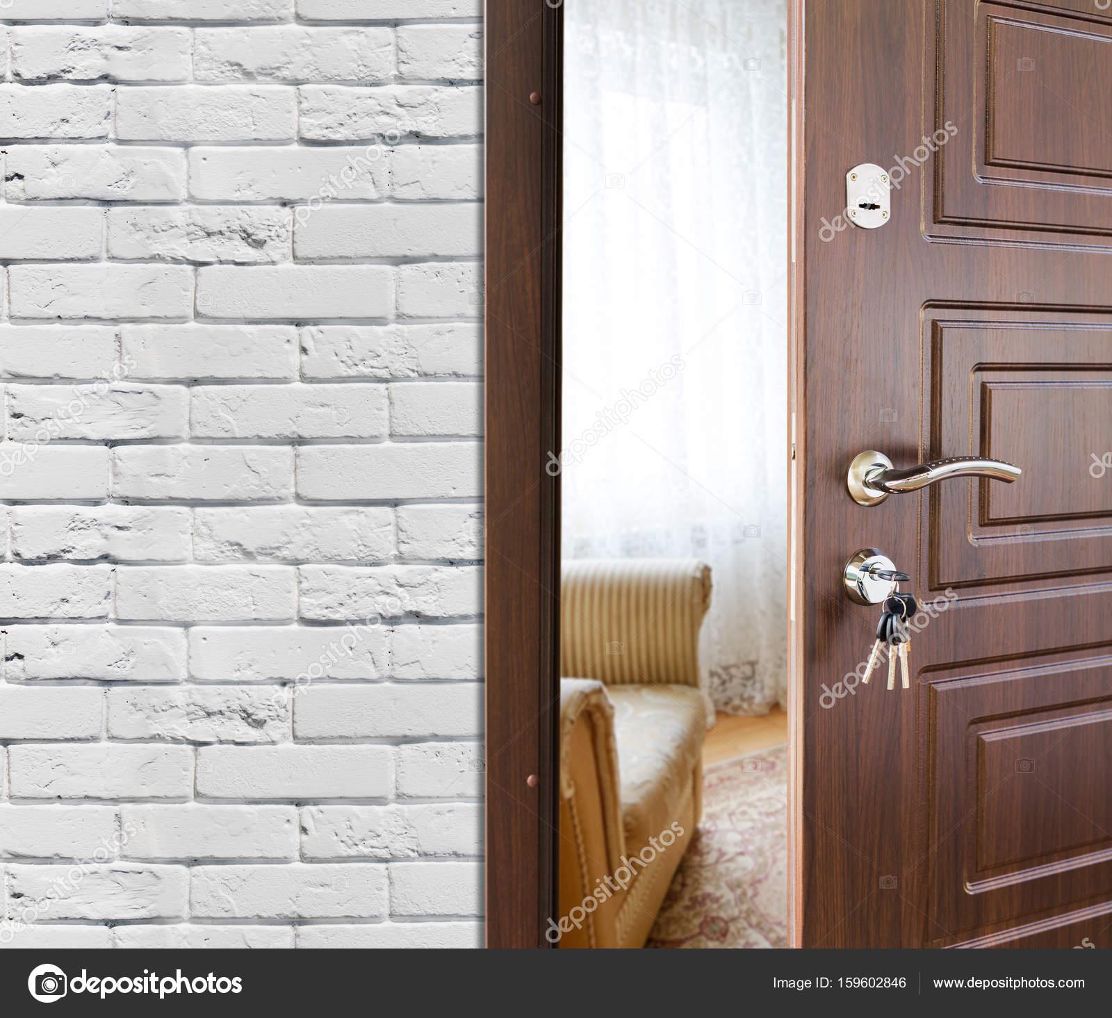 Half open door of a modern living room closeup. — Stock Photo ...