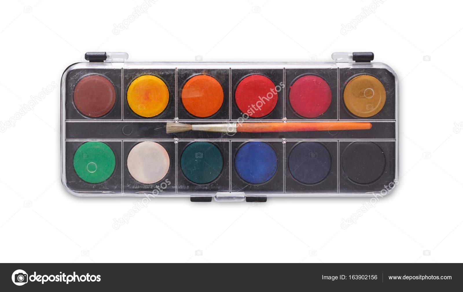 Outils De Dessin Palette Aquarelle Avec Pinceau