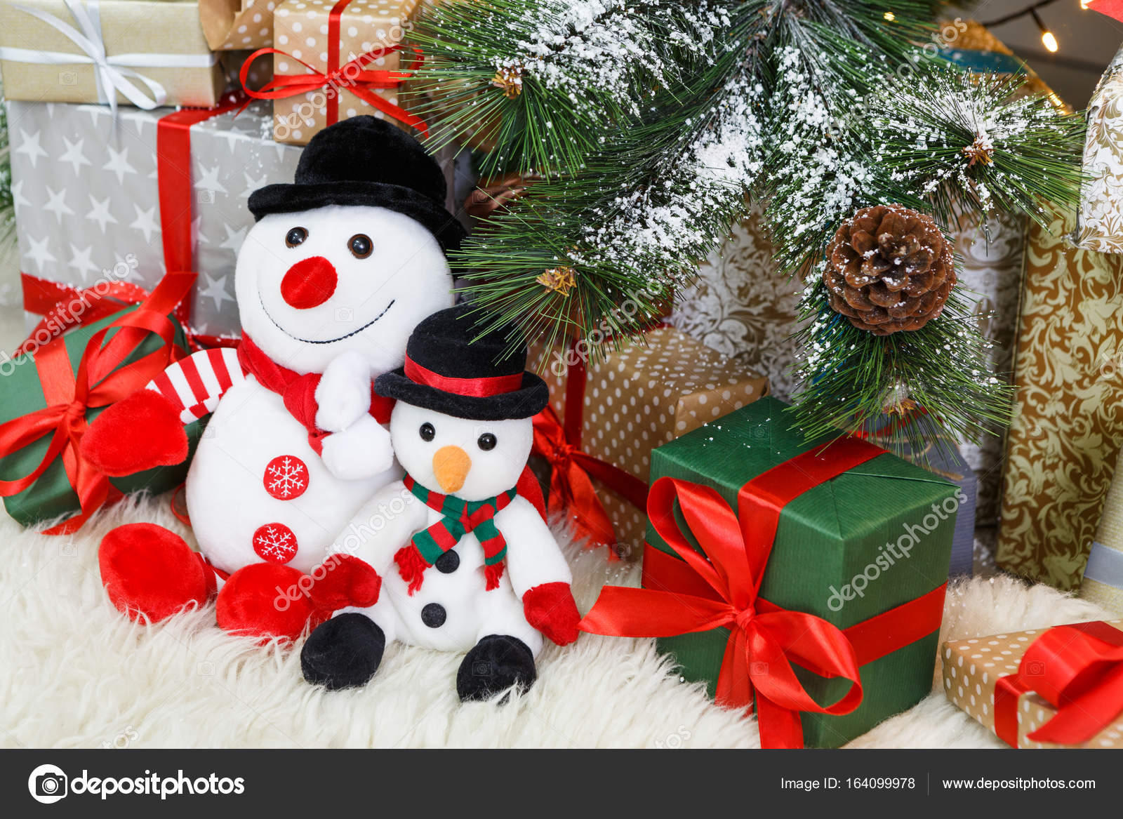 Snowman Presents Under Tree Cozy Christmas Background Toy