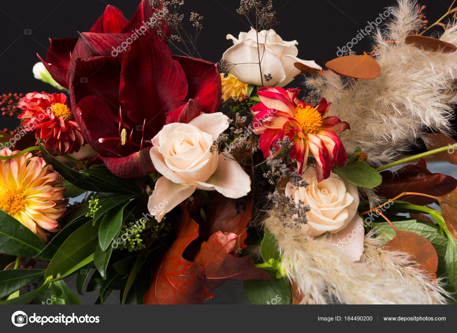 Fall Bouquet At Black Background Stock Photo Milkos 164490200