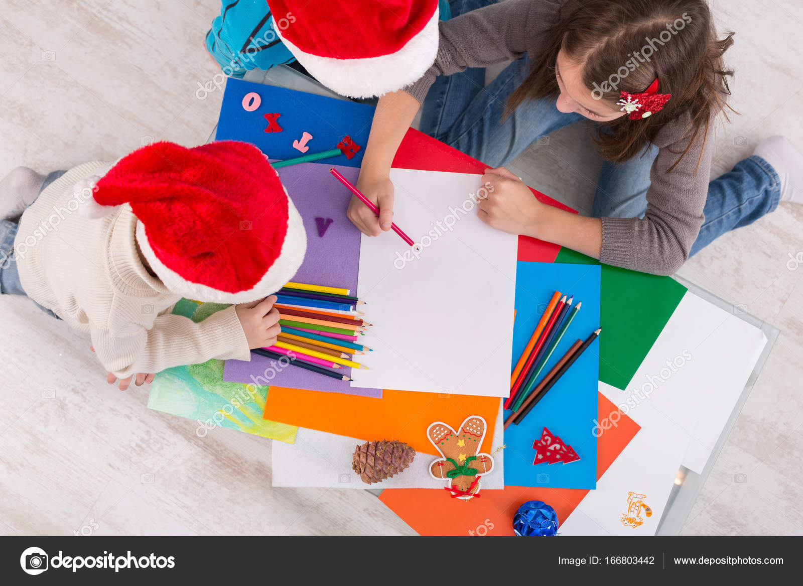 Children Writing Letter To Santa Wait For Christmas Top View