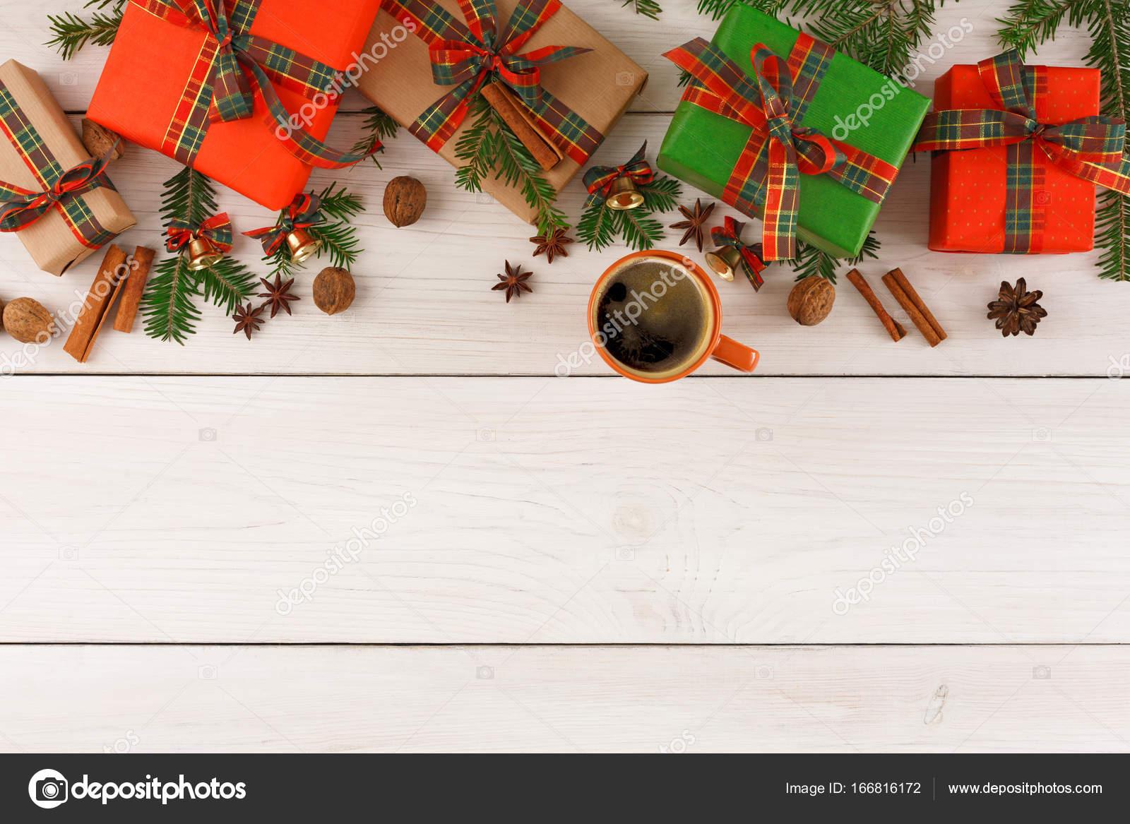 Geschenke für Weihnachten. Hintergrund. Ansicht von oben, Raum zu ...