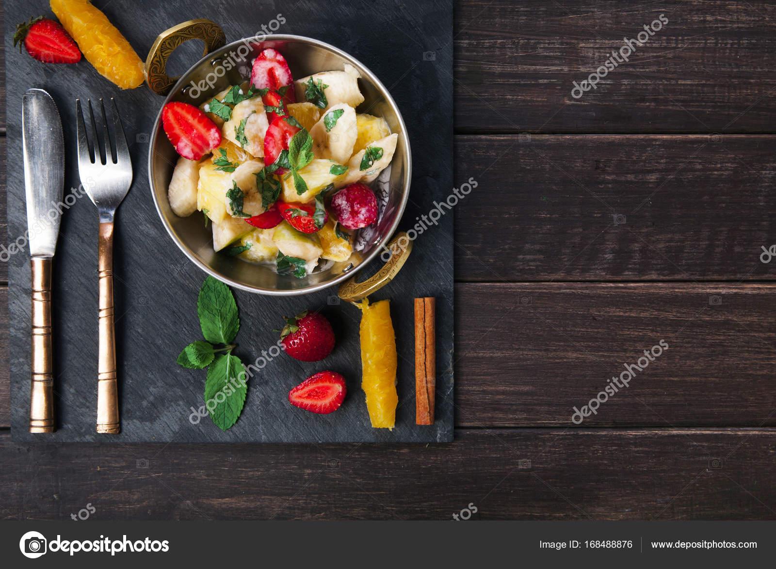 Jedzenie Restauracja Wegetarianska Salatka Owocowa Indyjski