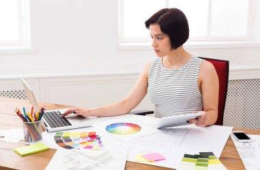 Interior designer working with palette