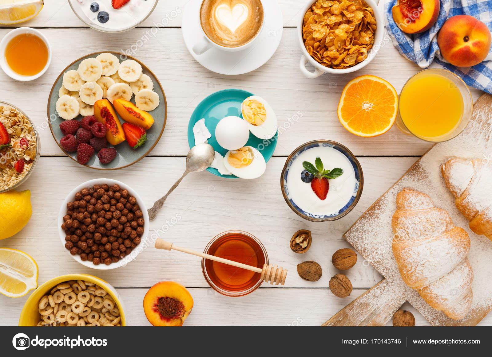 continental breakfast menu on woden table — stock photo © milkos