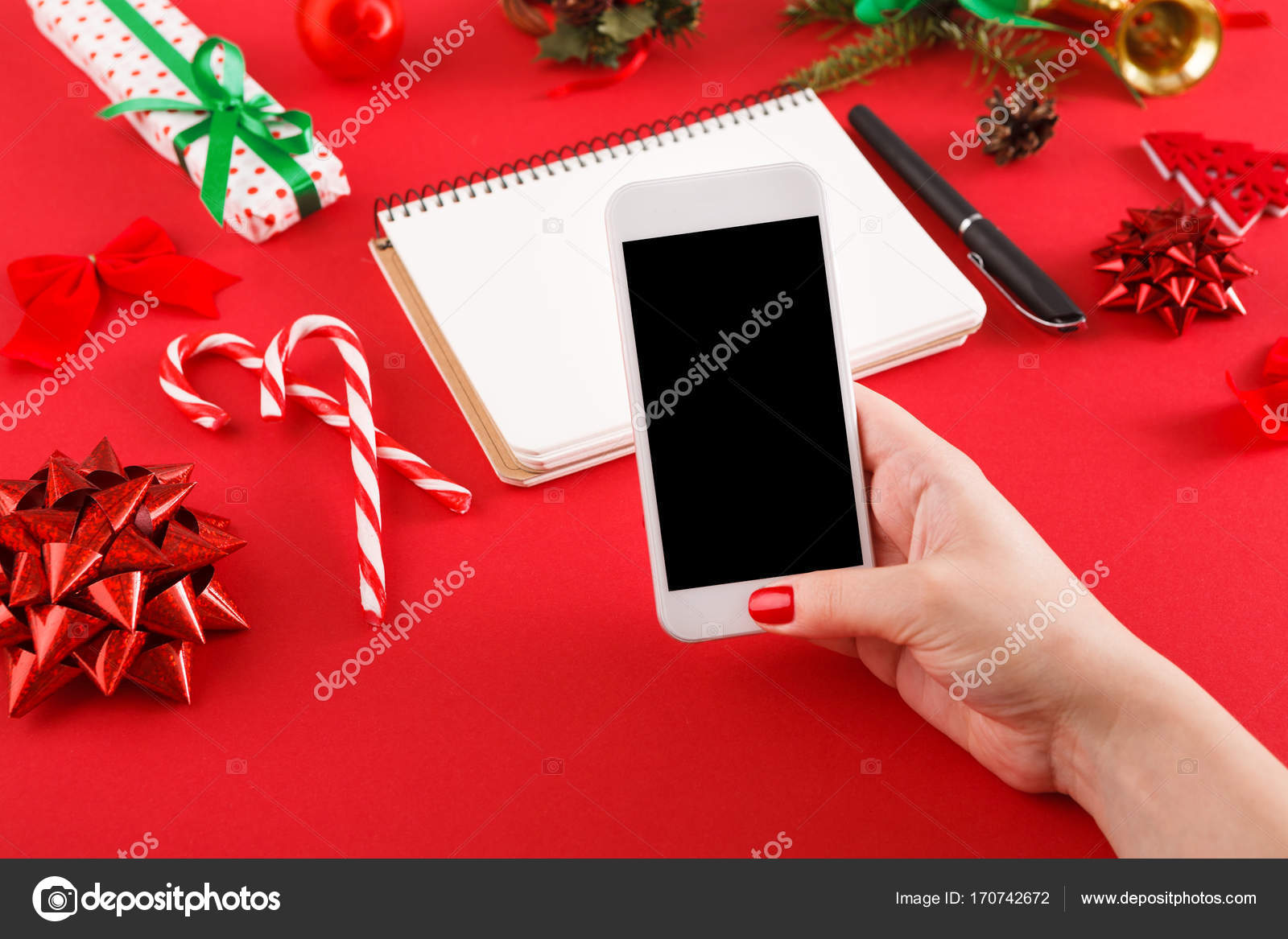 christmas wish list and online shopping background stock photo