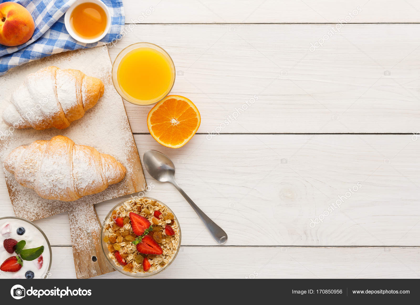 traditional french breakfast background copy space — stock photo